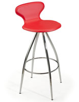 Red Faux Leather Stool with Chrome Base