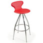 Red Faux Leather Stool with Footrest