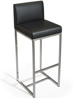 Black Leather Barstool with Backrest