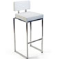 Stainless Steel Barstool with White Seat