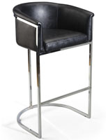 Bucket Barstool with Black Seat