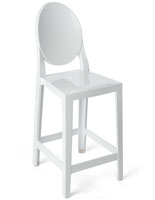 White Ghost Counter Stool with Backrest