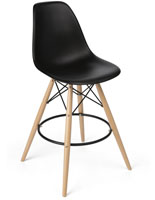Molded Plastic Bar Stool with Black Seat