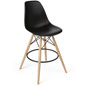 Molded Plastic Bar Stool with Wood Legs