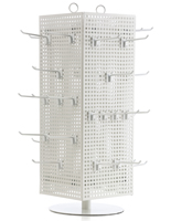 Countertop Pegboard Display with White Hooks & Round Base