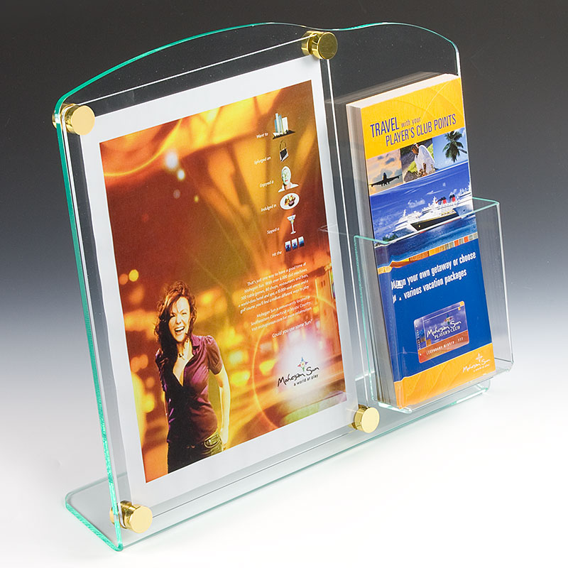 Tabletop sign holder with brochure pocket augmented with gold sandwich caps