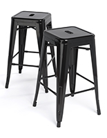Stacking Metal Stools with Square Seat