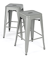 Modern Metal Counter Stools with Square Seat