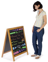 Use this chalkboard menu board on a sidewalk to announce specials or upcoming events.