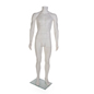 White Headless Male Mannequin with Tempered Glass Base