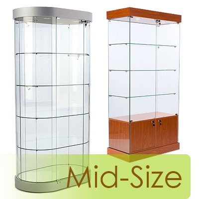 Glass display cases up to 36 inches wide