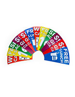 Satin photo printed custom prize wheel inserts for PWMINIBLK / PWMINIBLED