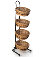 4 Tier Wicker Floorstanding Rack with Levelers