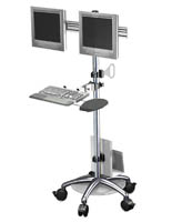 Rolling Dual Monitor Sit Stand Workstation