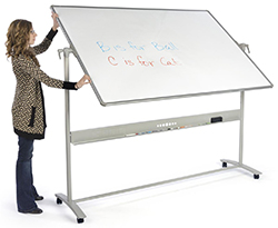 Double sided whiteboard with wheels
