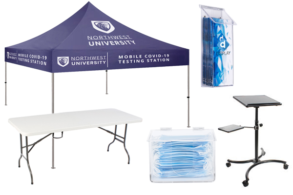 Coronavirus safety mobile testing site tents and tables
