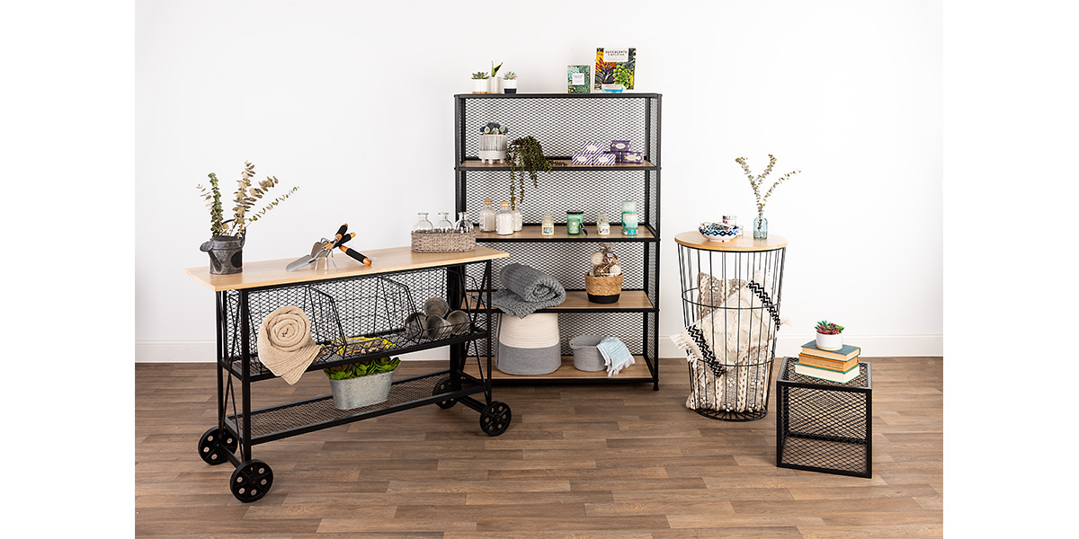 Modern rustic metal mesh retail collection