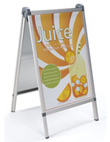 Silver Aluminum Outdoor Snap Poster A-Frame Shown with Sign