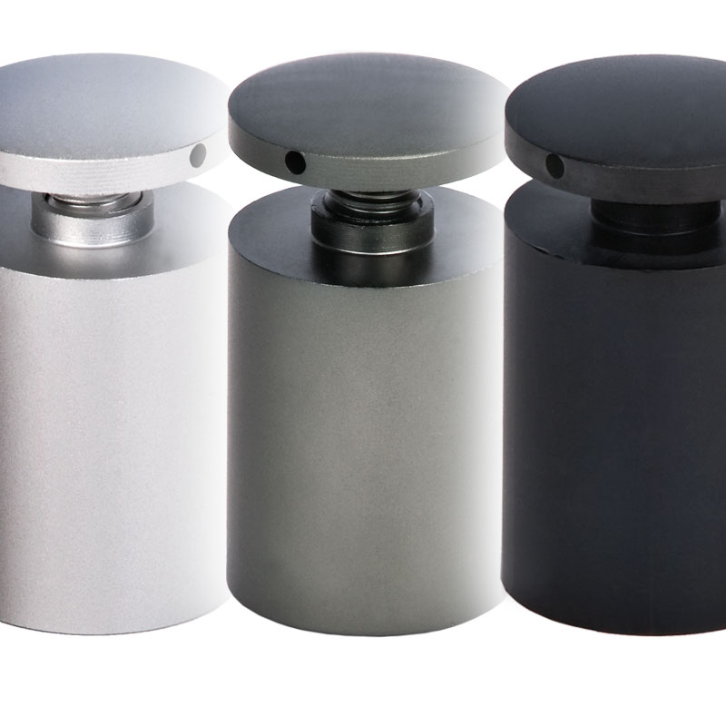 Standoffs with three monochromatic shades: satin silver, titanium gray, and black