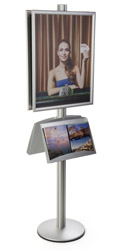 22x28 Snap Poster Stand with 2 Literature Shelves for Lobby Areas