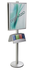 "22x28 Double Poster Holder with Literature Stand, Fits 4"" x 9"" Leaflets"