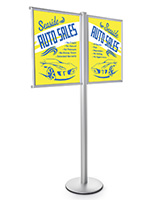 Dual Poster Fixed Post Display Stand for Promotions