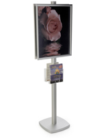 22x28 Floor Stand with Literature Holder & Square Base