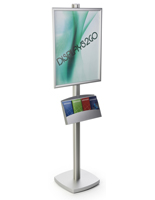 22x28 Pedestal Poster Stand with Metal Literature Tray