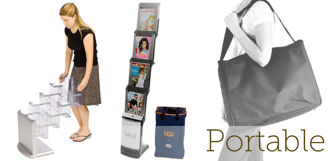 portable trade show magazine racks