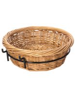 Round Wicker Basket Attachment with Woven Pattern