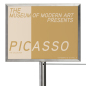 "11 x 8.5 silver vertical stanchion signage cap recommended for 39"" high posts"