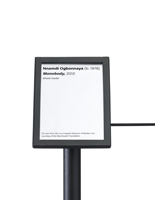 Small-format black exhibit 45-degree stanchion signage plate