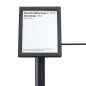 Black exhibit 45-degree stanchion signage plate holds 4 x 6 media