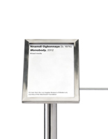 4 x 6 Silver stainless steel exhibit barrier 45-degree label holder