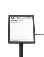 "8.5 x 6 black 45-degree museum barrier signage cap recommended for 16""h stanchions"