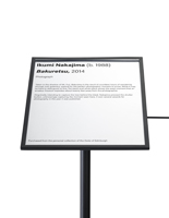 "11 x 14 black museum barrier signage frame recommended for 39""h QueuePole.Slim stanchion"