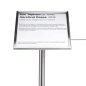 "8.5 x 11 Silver museum barrier signage plate recommended for 39"" high stanchions"