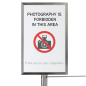 Stainless steel exhibit barrier stanchion sign cap