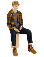 Seated Male Mannequin with Blonde Wig on Matching Base