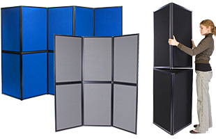 Double-sided multi-panel hook and loop display boards