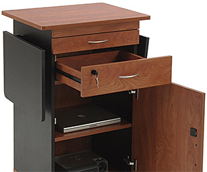 Multimedia lectern with leaf shelves and interior storage