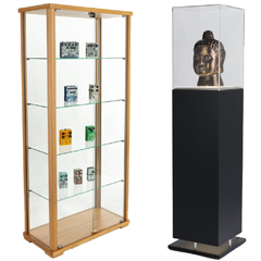 Wide and pedestal display cases