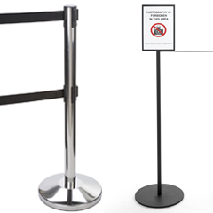 Stanchions for forming lines and protecting exhibits