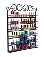black nail polish rack with 6 shelves