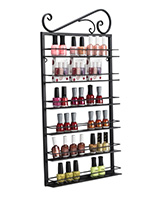 metal nail polish rack with bottles
