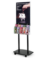Black poster floor stand with wheels and literature holders