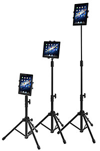 Height-adjustable non-locking tablet floor stands
