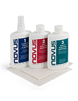 NOVUS complete plastic polish kit with three bottles and two cloths
