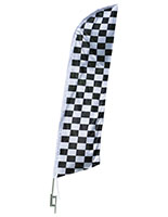Checkered Feather Flag with Steel Ground Stake