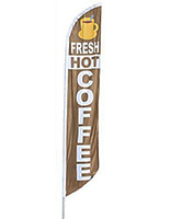 Feather flag with HOT COFFEE graphic